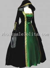 Gothic Black and Green Euro Court Dress Witch Halloween Costume