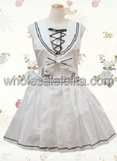 Sleeveless Cross Straps Bow Cotton Sailor Lolita Dress