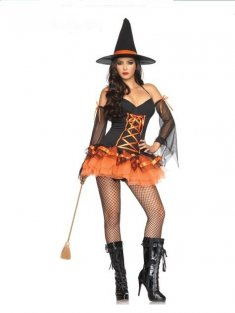 Orange and Black Halter Sexy Witch Party Dress