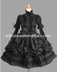 Black Lace Removable Sleeves Gothic Lolita Dress Costume Clothings