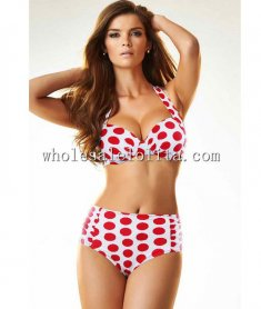 Sexy Red Polka Dot Push Up Bikini Top & High Waist Bottom