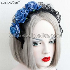 Gothic Lolita Blue Rose Headband Masquerade Accessories