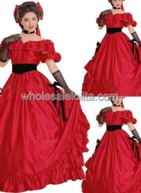 Off the Shoulder Red Satin Southern Belle Civil War Gown Period Dress Reenactment Clothing