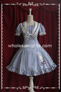 Deep Blue Stripes Envelope Print OP Sailor Lolita Dress