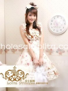 Hot Sale Summer Slim Fit Flower Print Cotton Rococo JSK Lolita Dress