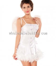 Pure White Straps Sexy Angel Lingerie Costume