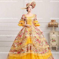 18th Century Rococo Style Marie Antoinette Inspired Prom Dress Wedding Ball Gown YELLOW