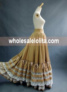 Light Yellow Vintage High Waist Long Victorian Day Skirt
