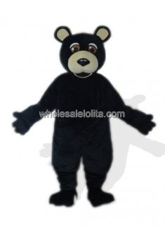 Black Plush Bear Mascot Costume for Adult