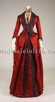 1870s Red Thick Satin Black Handmade Beaded Gorgeous Victorian Bustle Dinner Dress