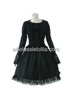 Black Long Sleeves Lace Cotton Lolita Suit