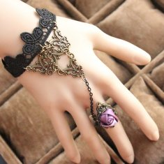 Vintage Lace Bracelet and Ring Purple Rose Bracelet
