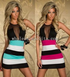 Black Gauze Sleeveless Patchwork Stripes Club Dress
