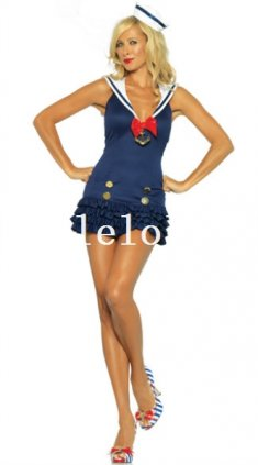 Halloween Sexy Blue Lady Sailor/Navy Costume Party Dress Night Wear