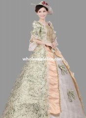 Historical Royal Court Floral Marie Antoinette Period Dress Theatre Clothing N2