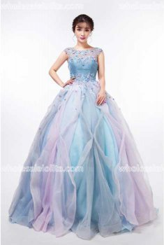 Fashion Blue Crystal Yarn Stage Performance Costumes Long Ball Gown