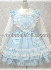 White and Blue Sweetheart Long Sleeves Cotton Lolita Dress