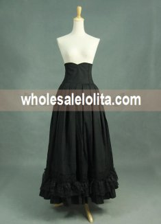 Black Vintage High Waist Long Victorian Day Skirt