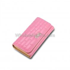 2016 New Fashion Stereoscopic Square Women Wallets Embossed Wallet Female Clutch Double Zipper Purses Carteira Feminia Gift Pink
