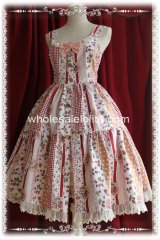Rural Pink Strawberry Printing Tea Length JSK Lolita Dress