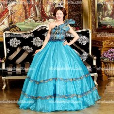 European Royal Gorgeous Sky BlueMarie Antoinette One-Shoulder Prom Dresses