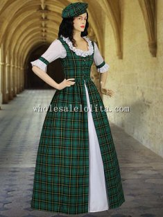Scottish Tartan Two Piece Traditional Dress Handmade in Red/Green Tartan Plaid