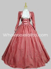 Three Piece Vertical Stripes Civil War Victorian Dress Reenactment Gown