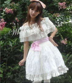 White Spaghetti Strap Lace Collar Sweet Lolita Dress
