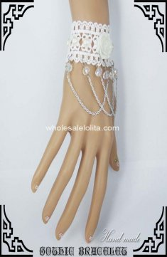 High-end Crystal Man-made Pearl Tassels White Lace Bracelet