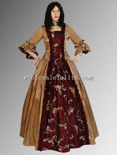 Gold and Red 16/17th Medieval Renaissance Baroque Dress Two Pieces Handmade Gown