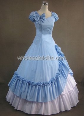 Elegant Sky Blue and White Southern Belle Cotton Civil War Prom Dress Ball Gown
