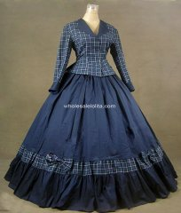 TOMSUIT Navy Gothic Victorian Vintage Floor Length Corset Long Lolita Set Dress