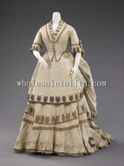 19th Century Victorian Dress - 1870 Early Bustle Victorian Dinner Dress