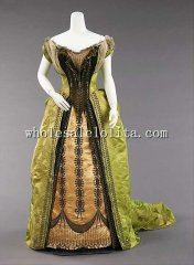Custom Made 1874 Victorian Bustle Dress Silk Metal Fantastical Themes Gowns Theater Clothing
