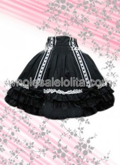 Black Ruffled Cotton Lolita Skirt