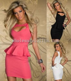 Chest heart Hollow-out Peplum Dress