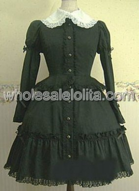 Black Long Sleeves Single breasted Cotton Lolita Dress