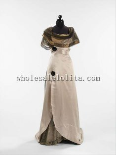 Custom Made Early 20th Century 1914 French Silk Evening Dress