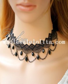 Beautiful Vintage Black Lace Diamond Collar Choker Necklace for Women