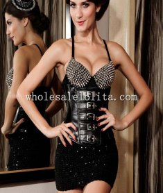 Black Buckles Underbust Leather Corset