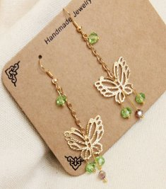 Gothic Gold Butterfly Jade Lolita Earrings EH-40