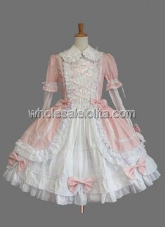 Pink Long Sleeves Ruffled Cotton Sweet Lolita Dress