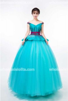 Fashion Sky Blue Organza Performance Costumes Long Prom Dress