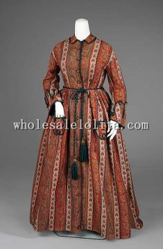 1875 Mid- to late Victorian Period Dress American Wool Silk Dressing Gown Reenactment Clothing