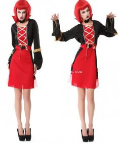 Gothic Black and Red Vampire Cosplay Halloween Costume Party Dress