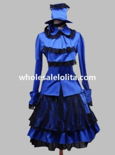 Blue and Black Gothic Dress for Halloween with Hat