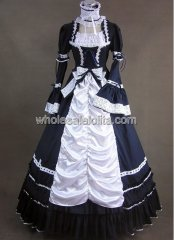 Cosplay Black and White Long Trumpet Sleeves Gothic Victorian Dress Halloween Party Gown