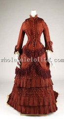 19th Century Historical Dress - Late 1870s Victorian Bustle Silk Tassel Wedding Dress