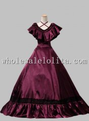 Civil War Burgundy Halter Cascade V-Neck Southern Belle Satin Ball Gown Dress