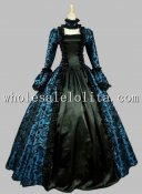 Georgian Victorian Gothic Period Dress Masquerade Ball Gown Reenactment Theatre Costume Blue
